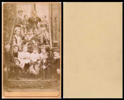 GROUP OF CHILDREN MAIDS TEACHERS SOME HOLDING BOWS/ARROWS ANTIQUE CDV SIZE PHOTO