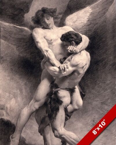 JACOB WRESTLING WITH AN ANGEL PAINTING BIBLE CHRISTIAN ART REAL CANVAS PRINT