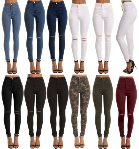 SKINNY HIGH WAISTED JEANS JEGGINGS WOMENS SLIM STRETCHY FULL LENGTH PANTS S <br/> ALL SEASONS TROUSERS DENIM BLUE JEANS BLACK JEGGINGS