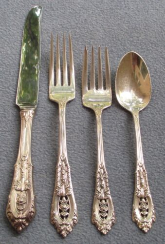 Wallace Sterling Silver Rose Point 4 Piece Place Setting (s)