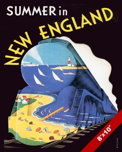 VINTAGE NEW ENGLAND SUMMER VACATION TRAIN TRAVEL AD POSTER ART REAL CANVAS PRINT