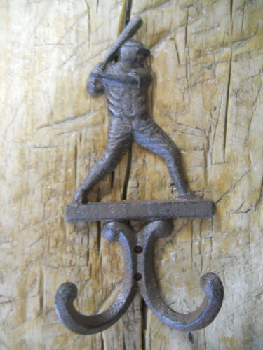 3 Cast Iron Antique Style BASEBALL PLAYER Coat Hooks Hat Hook Rack Towel  BAT