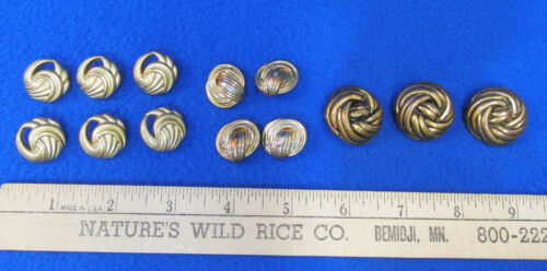 Vintage Knot Buttons Twisted Swirl Design Pattern Gold Tone Lot of 13