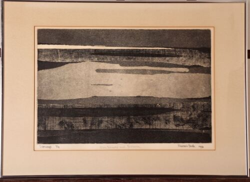 """Maureen Beck, """"Sideways"""" Abstract Etching, 1976, Inscribed, ~18.25x25.25"""""""