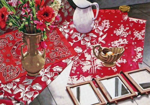 "Nancy Hagin - ""Three Red Cloths"" , hand-signed serigraph on paper"
