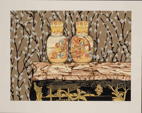 "P.S Gordon – ""Satsuma Vases"" hand-signed serigraph on paper"