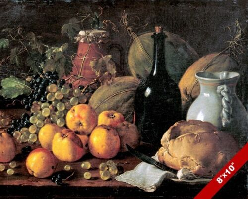 APPLES GRAPES MELONS BREAD & WINE STILL LIFE PAINTING FOOD ART REAL CANVAS PRINT
