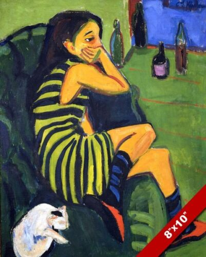 ERNST LUDWIG KIRCHNER YOUNG WOMAN GIRL IN GREEN PAINTING ART REAL CANVAS PRINT