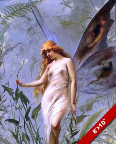 BEAUTIFUL YOUNG WOMAN LILY FAIRY GIRL PORTRAIT PAINTING ART REAL CANVAS PRINT