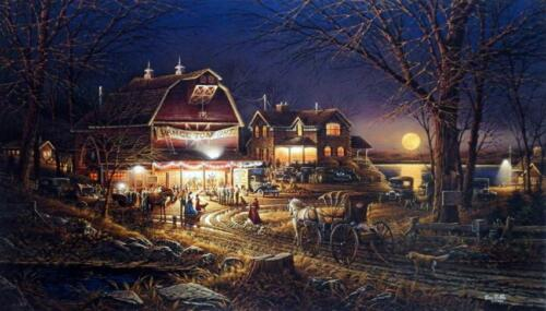 "Terry Redlin ""Harvest Moon Ball"" Barn Dance Art Print  18"" x 10.5"""