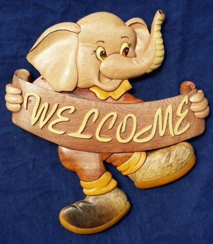 M Hawaiian Elephant Welcome Home Sign Happy Handcrafted Wood Art Wall Hanging
