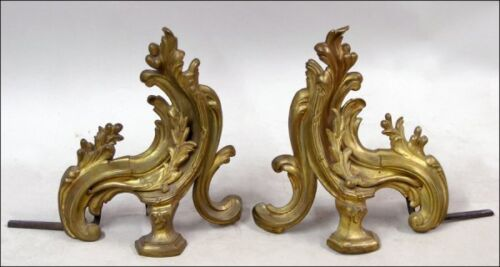 PAIR OF ROCOCO REVIVAL GILT BRONZE CHENETS ANDIRONS FOR FIREPLACE