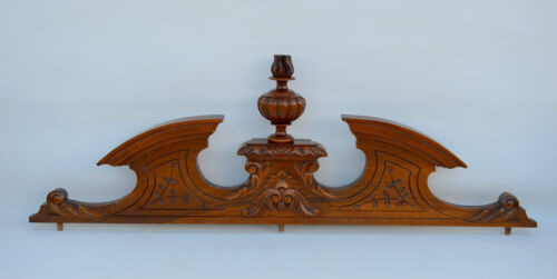 Antique Large French Gothic Hand Carved Walnut Wooden Pediment - Torch Flame