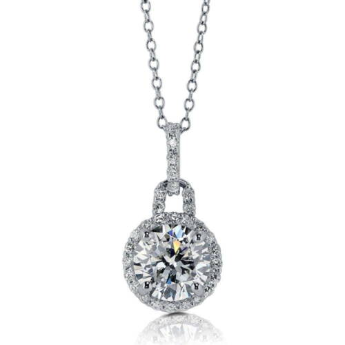 BERRICLE Sterling Silver Round Cut CZ Halo Pendant Necklace