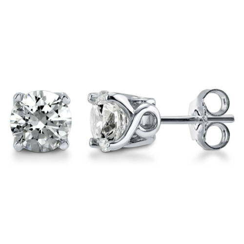 BERRICLE 925 Silver Solitaire Stud Earrings Made with Swarovski Zirconia 2 Carat
