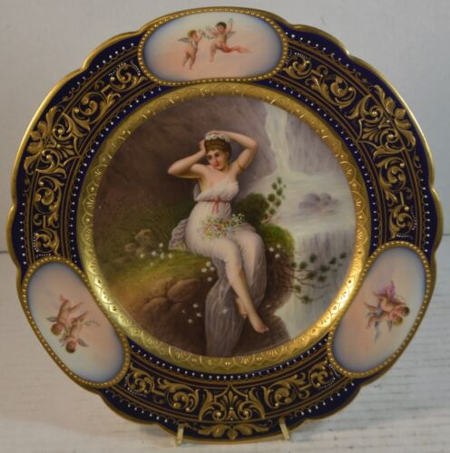 "Antique Royal Vienna Porcelain Plate ""Flora"" with Maiden"