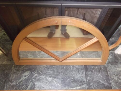 LARGE VINTAGE WOOD FRAMED ARCHED WINDOW PANE WALL MIRROR