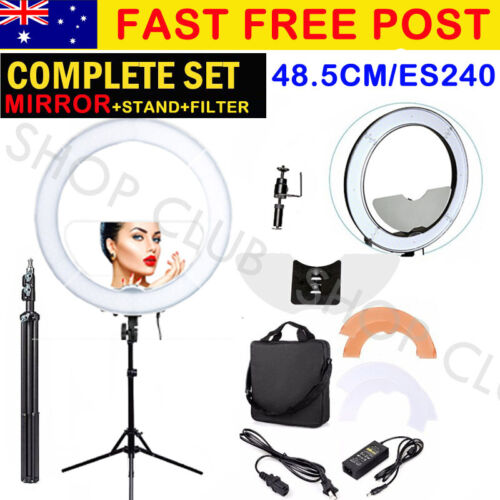 """BEST 19"""" 5900K Dimmable Diva LED Ring Light Diffuser MIRROR Stand Make Up Studio"""