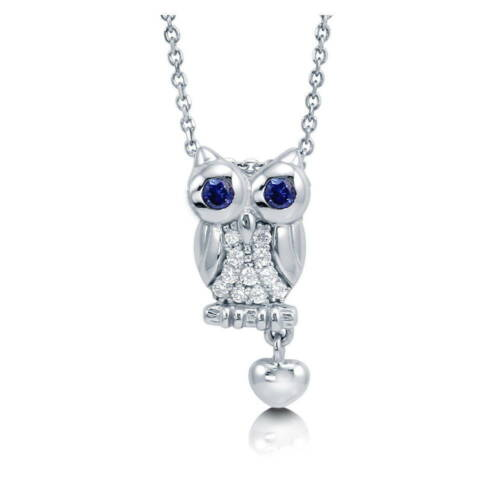 BERRICLE Sterling Silver CZ Owl Fashion Pendant Necklace