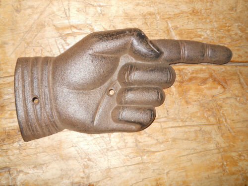 Cast Iron Antique Style Finger Pointing Pointer Sign Rustic Ranch Decor