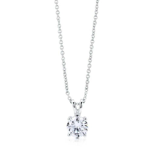 BERRICLE Sterling Silver Round Cut CZ Solitaire Pendant Necklace 0.93 Carat