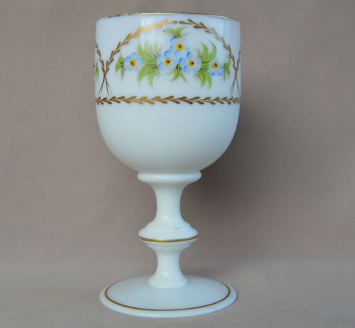 Antique French Victorian White Opaline Glass Goblet Wine - Water - Hand Painted