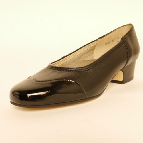 Equity Heidi Court Shoe Black Leather And Patent EEE Fitting Low Heel