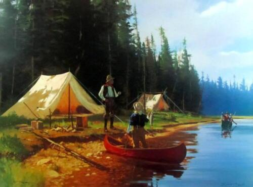 """Camp Fisherman  By Brett Smith Signed Art Print Image Size 30"""" x 22"""""""
