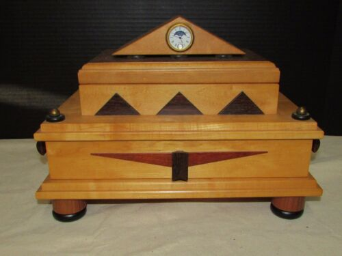 Post Modern American Craft Wood Jewelry Box Architectural Form