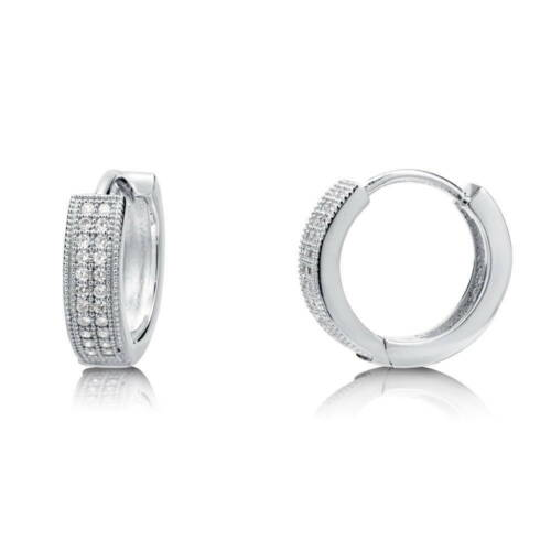 BERRICLE Sterling Silver CZ Fashion Hoop Huggie Earrings 0.56""
