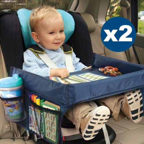 2X Car Safety Snack Seat Child Travel Tray Kids Drawing Board Table Waterproof