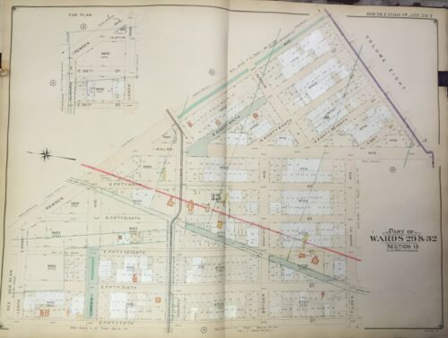 ORIGINAL 1906 E. BELCHER HYDE BROOKLYN NY EAST FLATBUSH NYC MAP ATLAS - 27x36