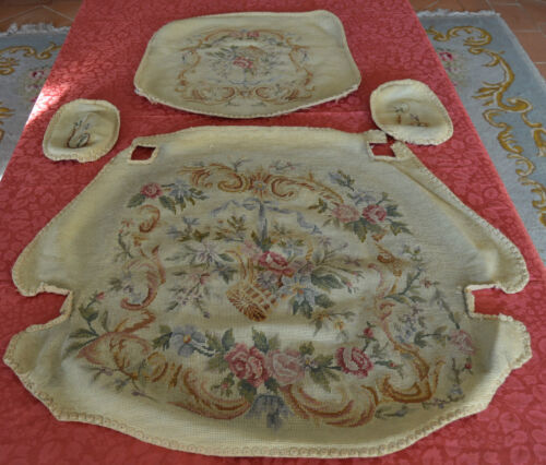 Antique French Louis XV Armchair Chair Tapestry Upholstery Tiny Cross Stitch n°1