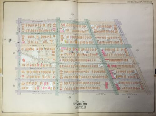 ORIG 1906 BELCHER HYDE BROOKLYN NY WEST FLATBUSH - BEVERLY SQ. MAP ATLAS 27x36