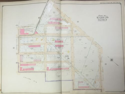 ORIGINAL 1906 E. BELCHER HYDE BROOKLYN NY BOROUGH PARK-PARKVILLE MAP ATLAS 27x36