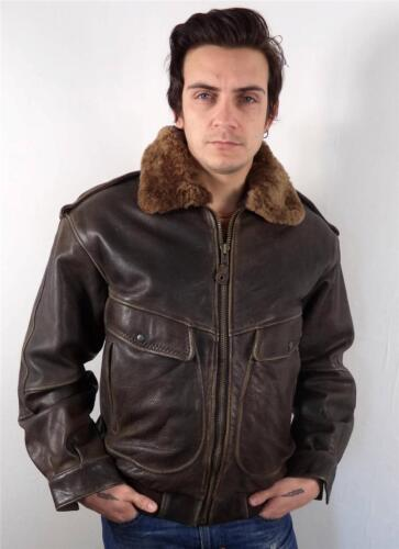 VINTAGE MENS CLASSIC BROWN LEATHER FLEECE COLLAR AIRFORCE FLYING JACKET L