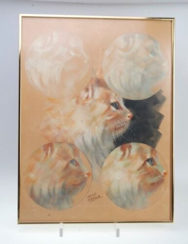 SIGNED LESLIE B. DEMILLE CAT PASTEL DRAWING WITH SIGNED BOOK, FRAMED