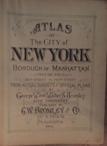 1914 COVER PAGE FOR G.W. BROMLEY UPPER MANHATTAN MAP ATLAS 16X22