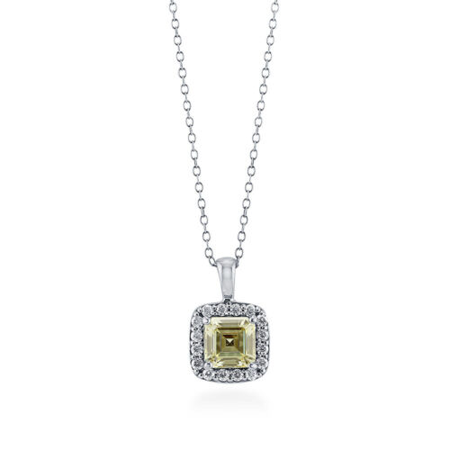 BERRICLE Sterling Silver Asscher Canary Yellow CZ Halo Fashion Pendant Necklace