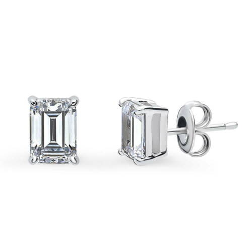 BERRICLE Sterling Silver Emerald Cut CZ Solitaire Stud Earrings