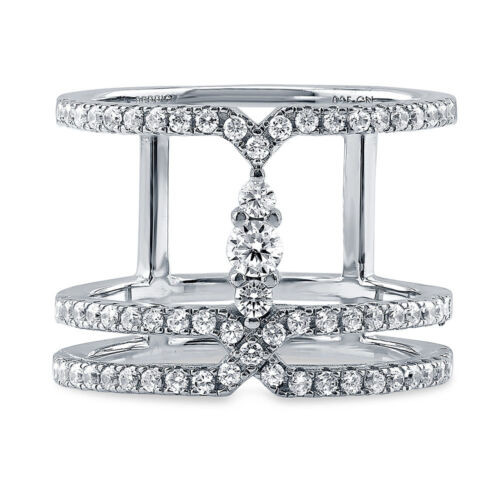 BERRICLE Sterling Silver CZ Open Bar Fashion Right Hand Cocktail Ring