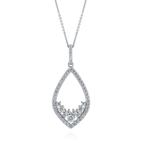 BERRICLE Sterling Silver CZ Teardrop Pendant Necklace