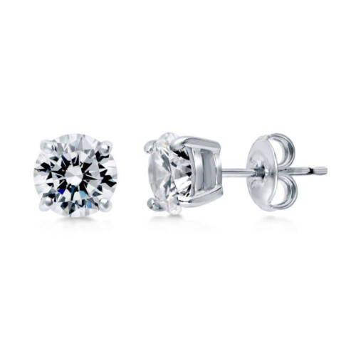 BERRICLE Sterling Silver Round Cut CZ Solitaire Stud Earrings