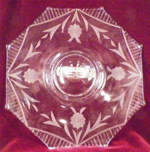 Pink Elegant Glass Tray Center Handle Etched Flowers New Martinsville Sandwich
