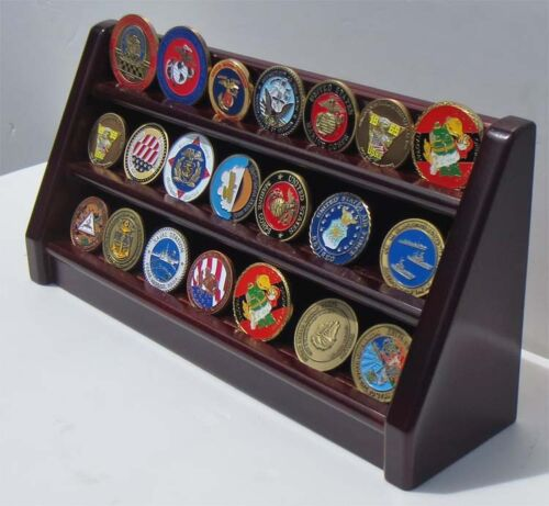 3 Tiers Challenge Coin Encapsulated Coin  Display Stand, Solid Wood, Coin18-MAChallenge Coins - 74710