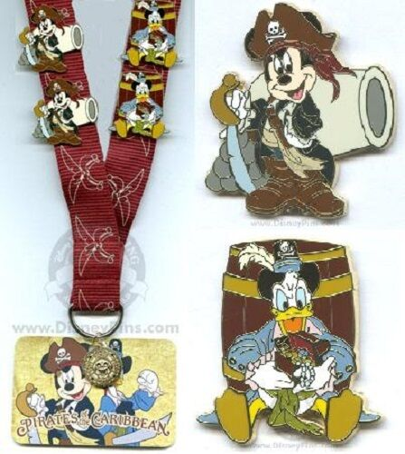 Disney Pin Trading Donald Duck Pirates of the Caribbean Pirate Sword Cannons