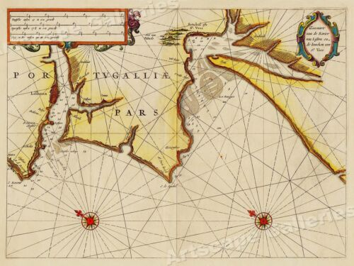 1623 Coast of Portugal Historic Vintage Style Wall Map - 18x24