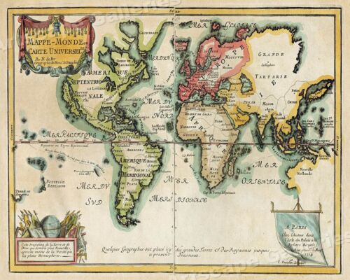 World Map 1705 Vintage Style Decorative Historical Map - 16x20