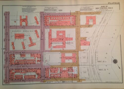 1955 UPPER EAST SIDE AND HARLEM  MANHATTAN NYC G.W. BROMLEY ATLAS MAP 12 X 17
