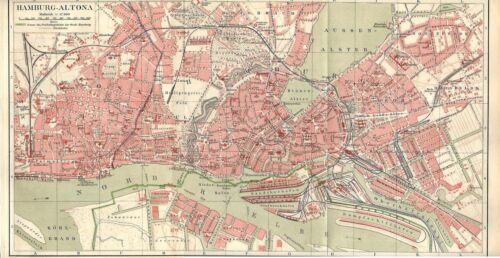 Carta geografica antica AMBURGO HAMBURG Pianta della città 1890 Old antique map